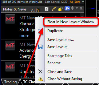 To float an entire layout right click on the layout tab and select Float in New Layout Window
