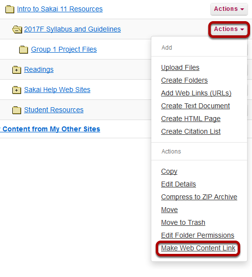 Click Actions, then Make Web Content Link.