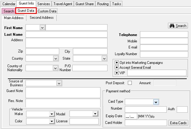 Guest Data Tab