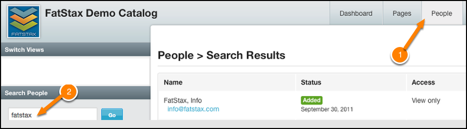 Navigate to the People tab and input the user name in the search field