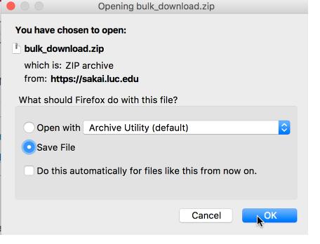 Save zip file.