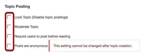 Select topic posting options.