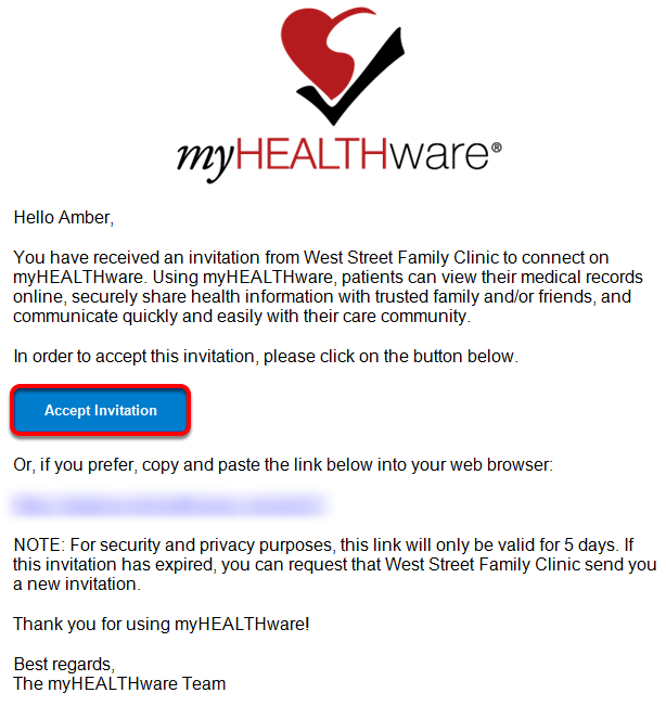 New Contact Must Accept myHEALTHware Invitation