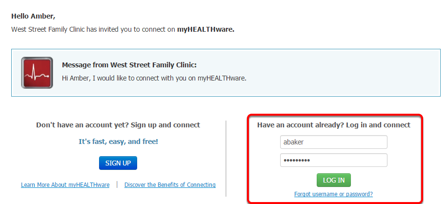 - (2) Contact Log In to Existing myHEALTHware Account
