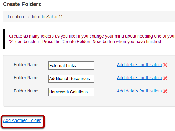 Add multiple folders. (Optional)
