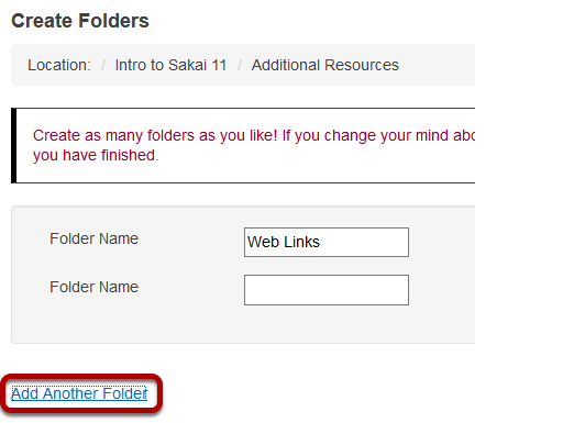 Create multiple subfolders. (Optional)