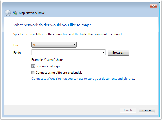 "Pick a letter drive and type in the network path. When finished, click on ""Finish""."
