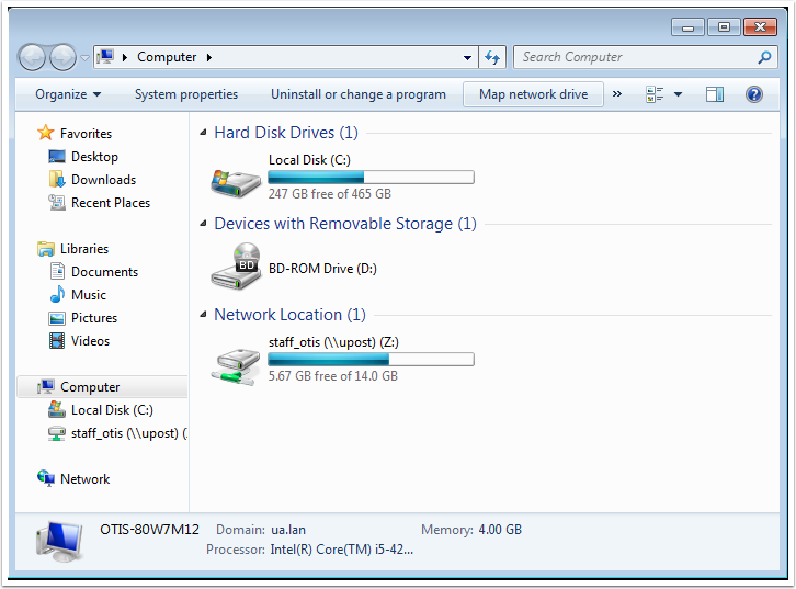 After you are finished, the network drive added should appear in the Computer window.
