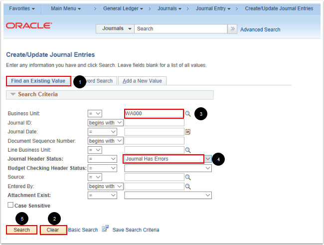 Create/Update Journal Entries