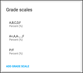 Grade scales options.