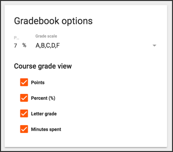 Gradebook options.