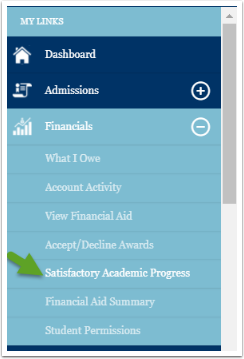 Satisfactory academic progress menu