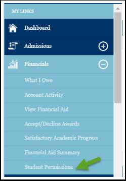 Student permission menu