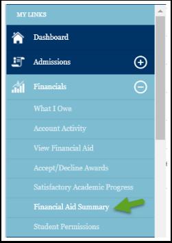 Financial aid summary menu