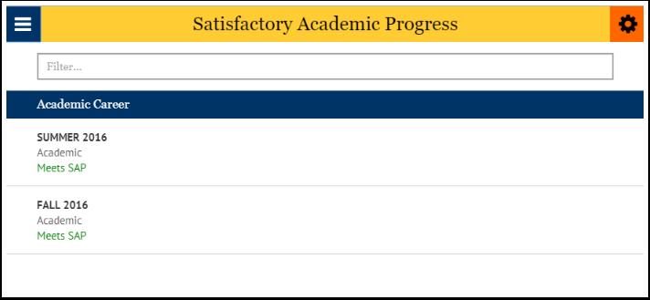Satisfactory academic progress page