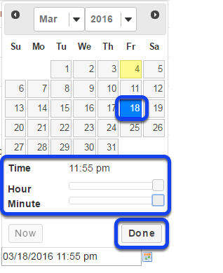 Click calendar icon to insert date and time.