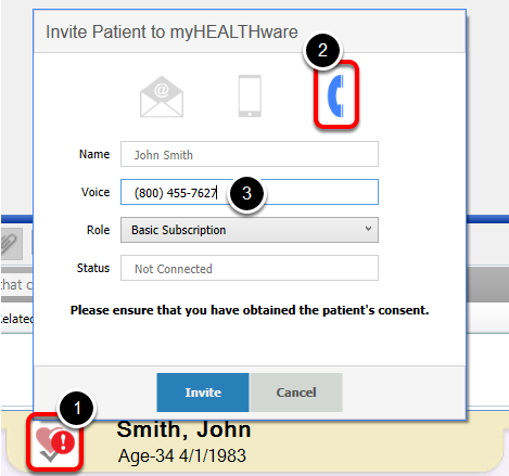 2. Send the Patient a myHEALTHware Invitation