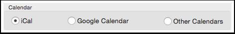 Advanced Options window with calendar choices.