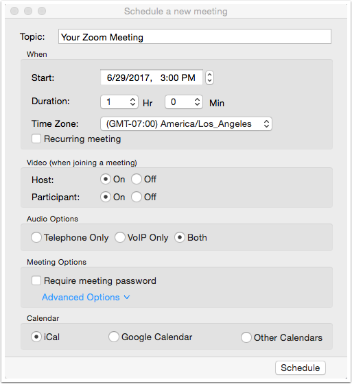 Schedule a new meeting window