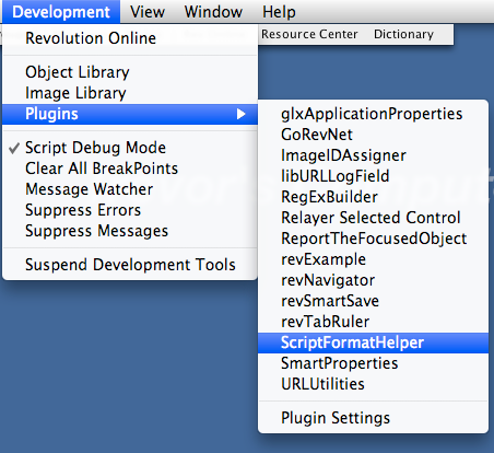 Access Plugin From the Development Menu