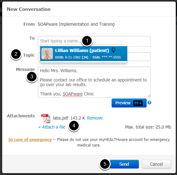 3.  Enter New Conversation Information