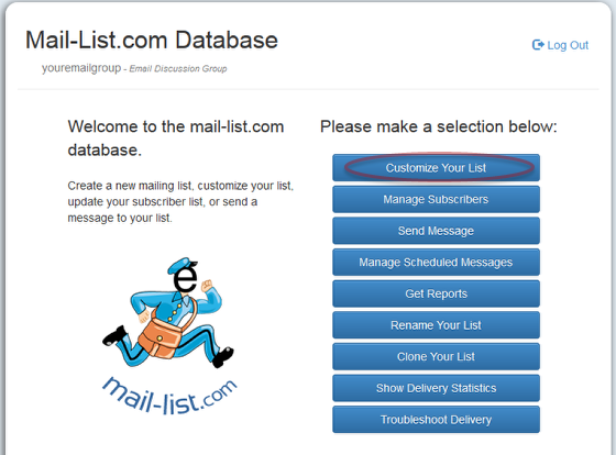 "Click on ""Customize Your List"" and log into your mail-list account:"