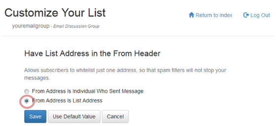 "Toggle the radio button to choose ""From Address Is List Address"""
