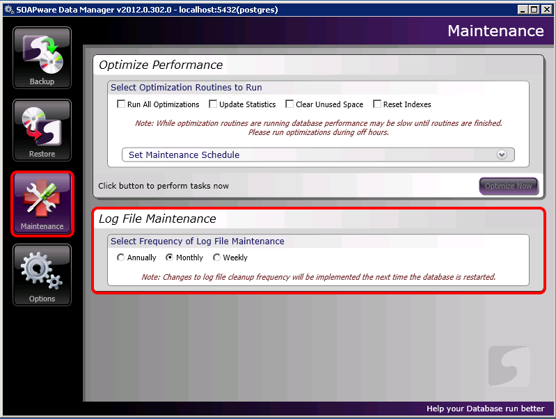 Maintenance: Log File Maintenance