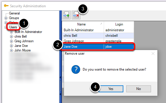 Delete/Remove a User from Security