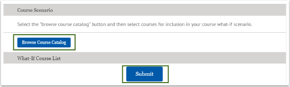 Browse Course Catalog, submit page