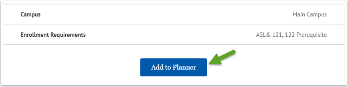 Add to Planner button
