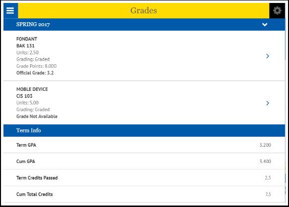 Grades page