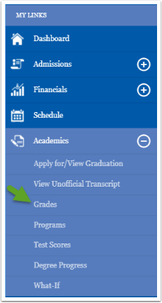 My Links menu, grades