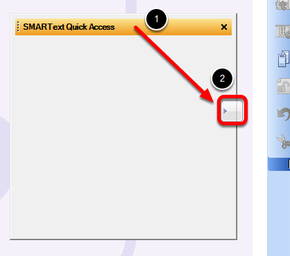 Dragging the SMARText Quick Access Window