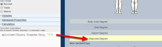 "To generate ""Diagnosis"" you need to add in a Text Calculation field"