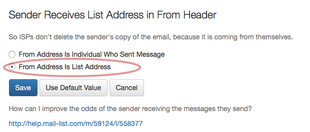 """Toggle the radio button to choose """"From Address Is List Address"""""""