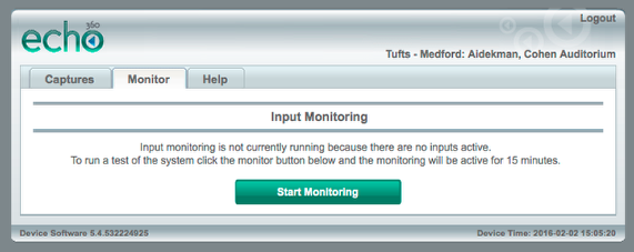 "Select the Monitor tab and click the green ""Start Monitoring"" button."
