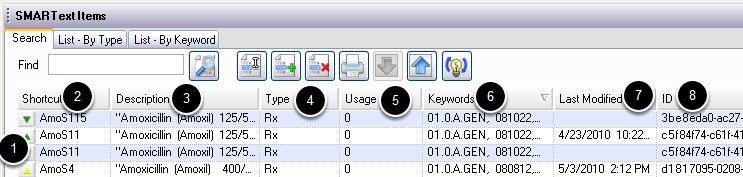 SMARText Items Manager Interface- Columns