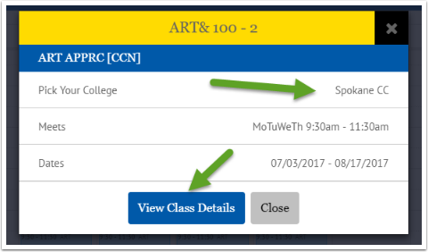 View Class Details button