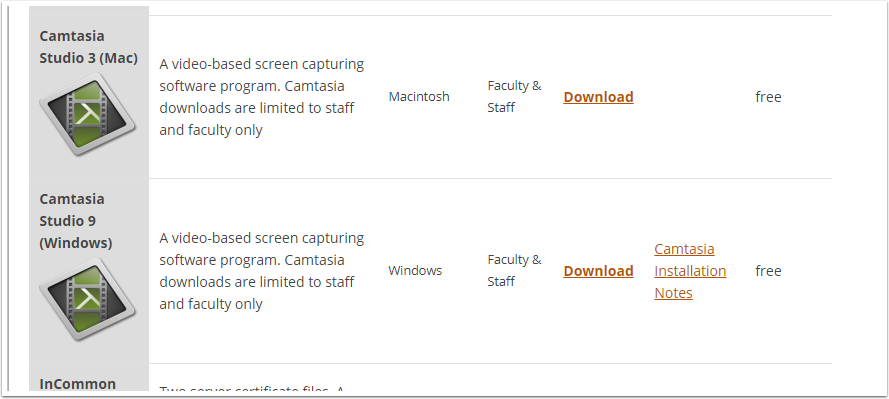 Camtasia downloads