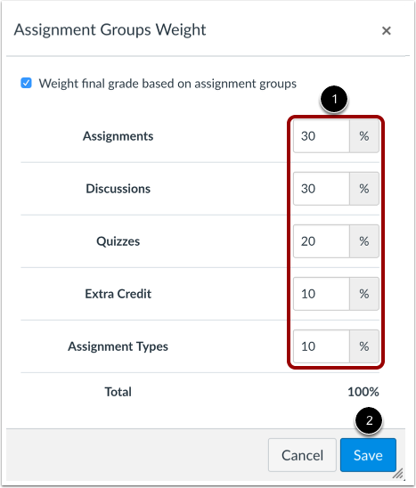 set assignment group weight