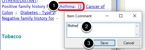 Attaching an Item Comment to Family History