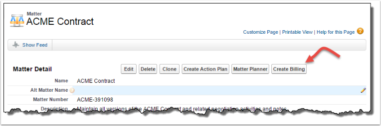 Create Billing from Matter or Account