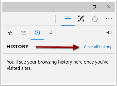 Microsoft Edge Clear All History link highligted to the right of the History screen.