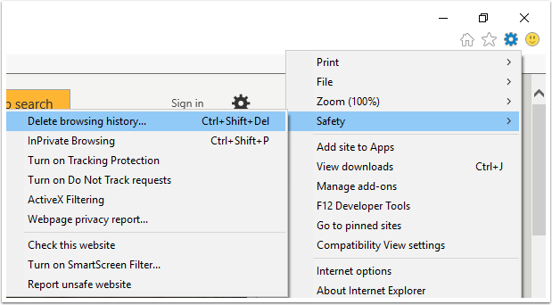 In Internet Explorer's browser dropdown menu, Saftey is highlighted which opens another drop down menu where Delete Browsing History is highlighted.