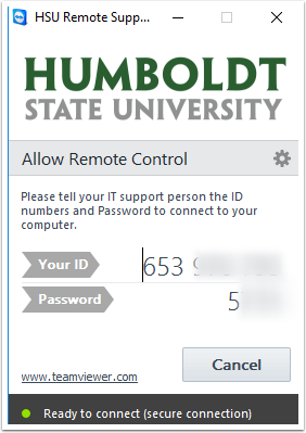 Allow Remote Control - ID and Password prompt