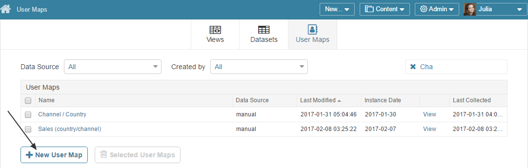 Access Admin > Datasets > User Maps tab