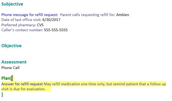 Document Phone Call in SOAPnote