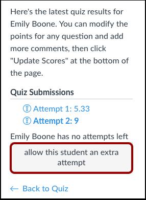 Agregar intentos adicionales a través de los resultados de la evaluación del alumno