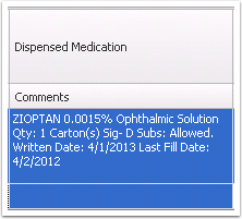 Dispensed medication